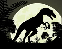 A dinosaur standing in front of the moon.